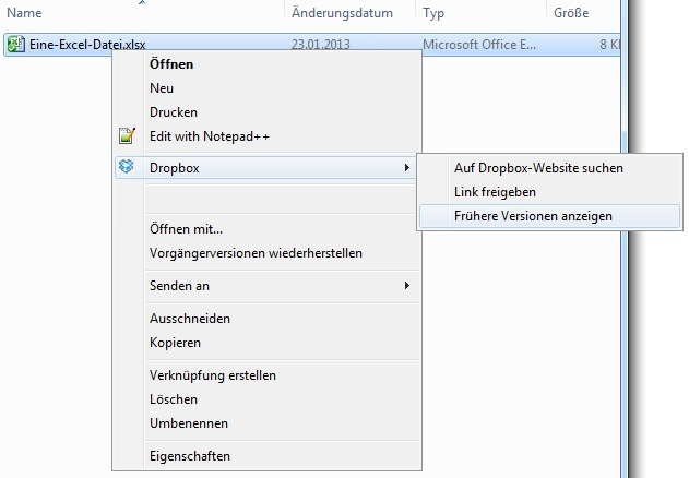 Dropbox: Frühere Version wiederherstellen