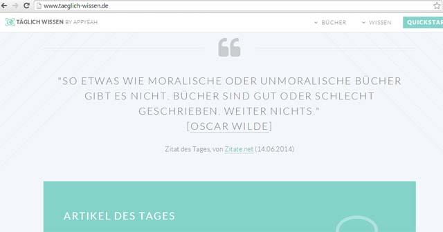 Täglich Wissen - Screenshot vom 14.6.2014