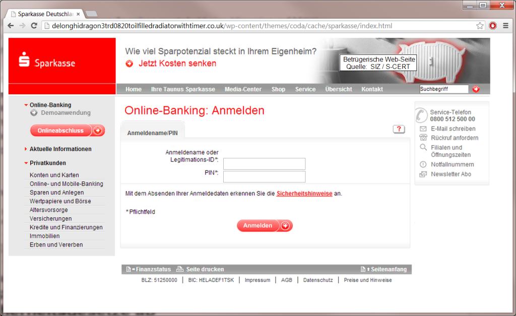 Täuschend echt: Sparkassen-Nachbildung als Phishing-Seite