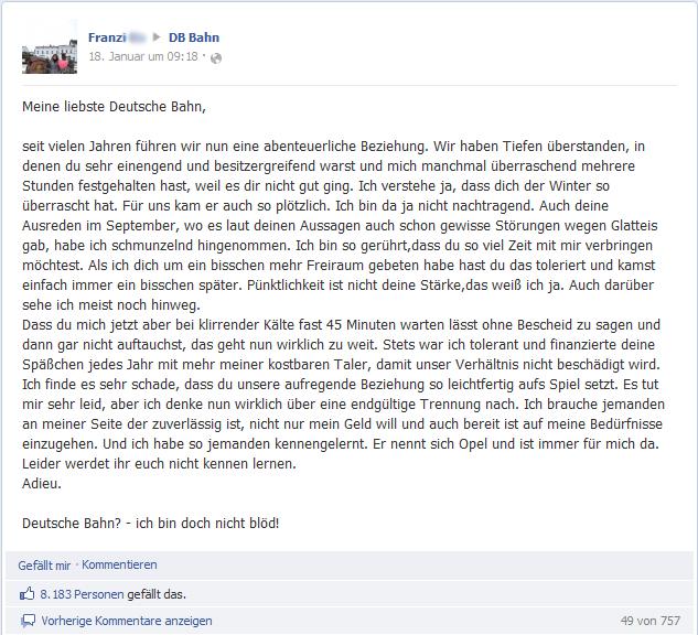 Franzi Do macht Schluss mit der DB Bahn