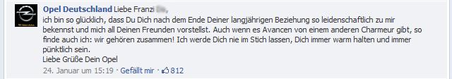 Franzi Do macht Schluss mit der DB Bahn und Opel antwortet (auf Facebook)