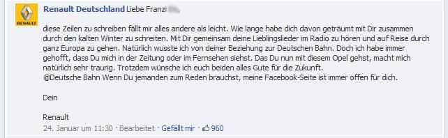 Franzi Do macht Schluss mit der DB Bahn und Renault antwortet (auf Facebook)